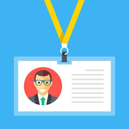 Identification card, lanyard, badge, id card concepts. Modern flat design vector illustration  イラスト・ベクター素材