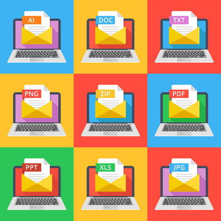 txt: Laptops with envelopes and documents with different extensions. Email attachments, e-mail documents concept. AI, DOC, TXT, PNG, ZIP, PDF, PPT, XLS and JPG file extensions. Flat design vector icons set