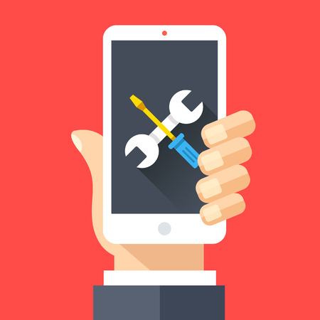 Wrench and screwdriver icon on smartphone screen. Hand holding smartphone. Fix, maintenance, mobile phone repair service concept. Flat design vector illustration
