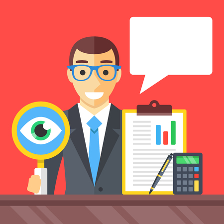 Accounting, financial adviser, investment advisor, auditor concepts. Man with magnifying glass, clipboard, pen, calculator and speech bubble. Modern flat design graphic elements. Vector illustration Vettoriali