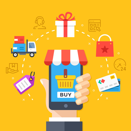 checkout line: Mobile shopping, mobile commerce concept. Hand holding smartphone with checkout page. Modern flat design graphic elements, thin line icons set. Vector illustration