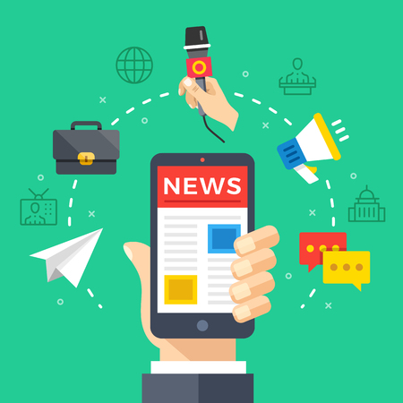 newscast: Reading news on mobile phone. Hand holding smartphone with newspaper, news website. Modern flat design graphic elements, thin line icons set. Vector illustration