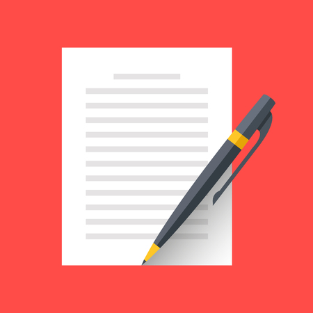 business contract: Vector document and pen icon. Singing document, filling form, business contract, application, claim concepts. Modern flat design graphic elements. Vector illustration