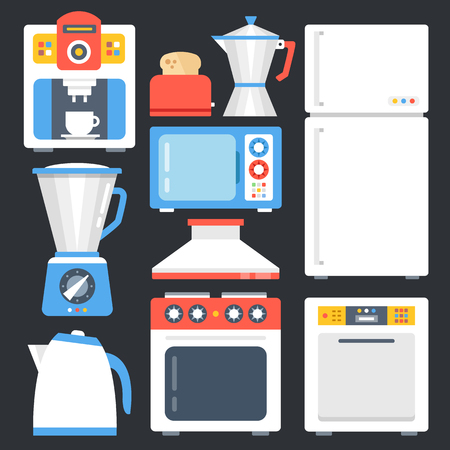 Kitchen appliances, household, home appliances set. Modern flat icons set, trendy graphic elements, objects. Creative design concepts. Vector illustration