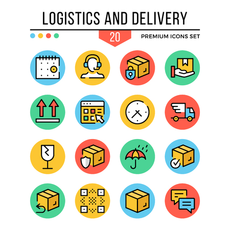 Logistics and delivery icons. Modern thin line icons set. Premium quality. Outline symbols, graphic elements, concept, flat line icons. Vector illustration