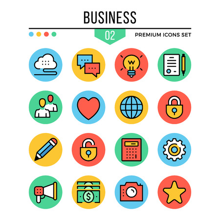 Business icons. Modern thin line icons set. Premium quality. Outline symbols, graphic elements, concepts, buttons, flat line icons. Vector illustration.  イラスト・ベクター素材
