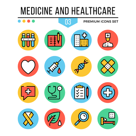 healthcare and medicine: Medicine and healthcare icons. Modern thin line icons set. Premium quality. Outline symbols, graphic concepts, flat line icons. Vector illustration.