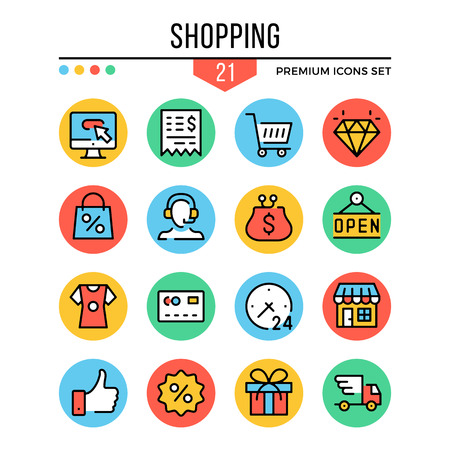 Shopping icons. Modern thin line icons set. Premium quality. Outline symbols, graphic elements, concepts, flat line icons. Creative vector illustration