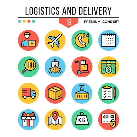icons: Logistics and delivery icons. Modern thin line icons set. Premium quality. Outline symbols collection, graphic concept, flat line icons. Vector illustration