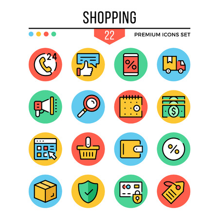 Shopping icons. Modern thin line icons set. Premium quality. Outline symbols, graphic elements collection, concepts, flat line icons. Vector illustration Vettoriali