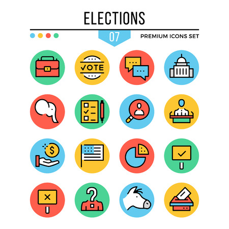 Elections icons. Modern thin line icons set. Premium quality. Outline symbols, graphic elements, concepts, flat line icons. Creative vector illustration. Illustration