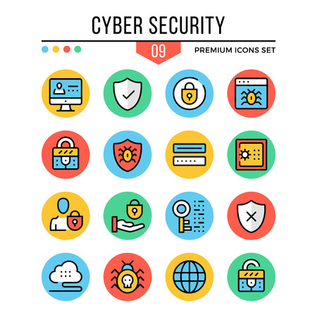 malicious software: Cyber security icons. Modern thin line icons set. Premium quality. Outline symbols, graphic elements, concepts, flat line icons. Vector illustration.