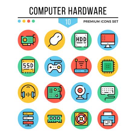 Hardware de computadora, iconos de componentes de computadora. Conjunto de iconos de línea delgada moderna. Calidad premium. Colección de símbolos de contorno, iconos de línea plana. Ilustración vectorial Ilustración de vector