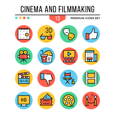 Cinema and filmmaking icons. Modern thin line icons set. Premium quality. Outline symbols, graphic elements, concepts, flat line icons. Vector illustration