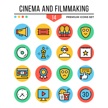cinema screen: Cinema and filmmaking icons. Modern thin line icons set. Premium quality. Outline symbols, graphic concepts, elements, flat line icons. Vector illustration