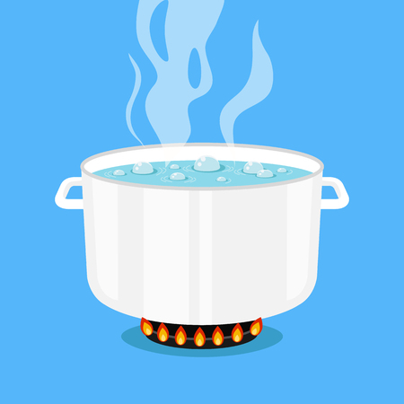 Boiling water in pan. White cooking pot on stove with water and steam. Flat design graphic elements. Vector illustration Ilustração
