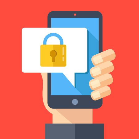 security lock: Hand holding smartphone with speech bubble and lock on screen. Padlock icon. Locked device, password, lock screen, mobile security concepts. Modern flat design vector illustration Illustration