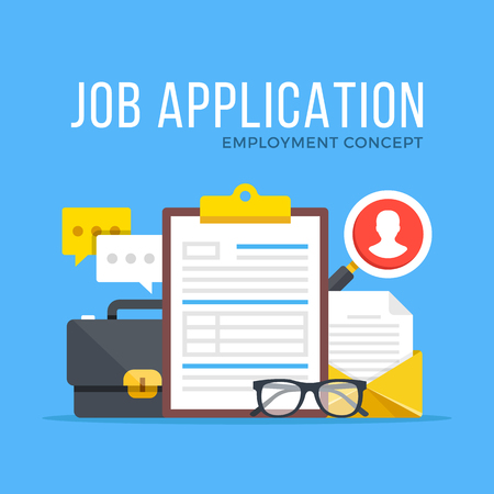 Job application. Employment, human resources, job offer, recruitment, hiring concepts. Modern flat design graphic elements set. Vector illustration Stock Vector - 76041710