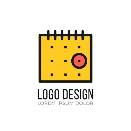 カレンダーのロゴのデザイン コンセプト。カレンダーのアイコン。ベクトルのロゴ