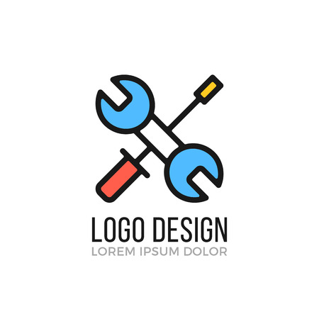Maintenance, repair logo design concept. Crossed wrench and screwdriver icon. Vector logo
