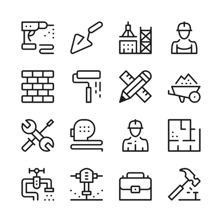 Building and construction line icons set. Modern graphic design concepts, simple outline elements collection. Vector line icons