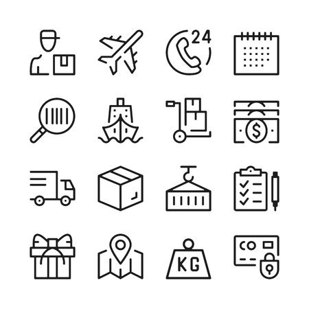Logistiek lijn pictogrammen instellen. Moderne grafische ontwerpconcepten, eenvoudige overzichtselementeninzameling. Vector lijn pictogrammen
