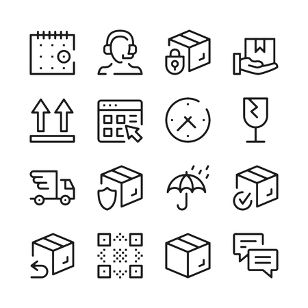 Delivery line icons set. Modern graphic design concepts, simple outline elements collection. Vector line icons