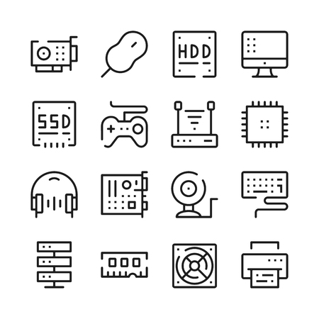 gpu: Computer hardware line icons set. Modern graphic design concepts, simple outline elements collection. Vector line icons