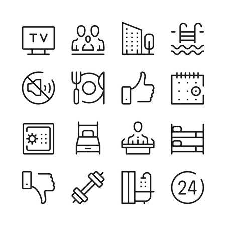 Hotel services and hotel amenities line icons set. Modern graphic design concepts, simple outline elements collection. Vector line icons