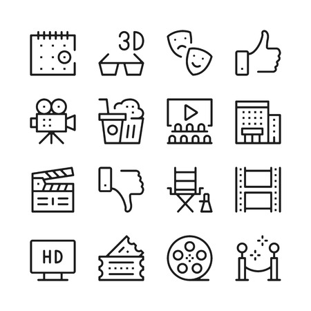 cinema screen: Cinema line icons set. Modern graphic design concepts, simple outline elements collection. Vector line icons