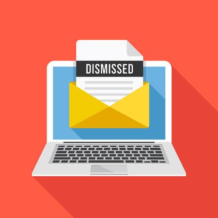 Laptop and envelope with dismissal letter. Email with dismissed header, subject line. Dismission, job loss, firing concepts. Modern graphic elements. Flat design vector illustration