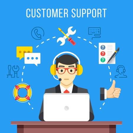 Customer support. Call center operator with headset at computer. Flat icons and thin line icons set, modern flat design graphic elements. Vector illustration Illustration