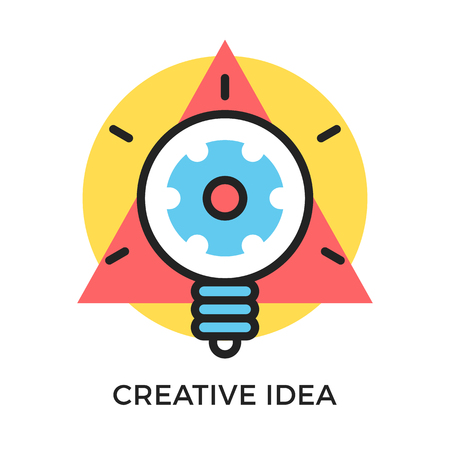 hint: Creative idea icon. Glowing light bulb with gear inside and geometric shapes, round circle and triangle. Modern flat design thin line concept. Vector icon