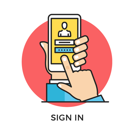 hand holding sign: Sign in icon. Hand holding smartphone with login page and login and password registration form, finger touching screen. Modern flat design thin line concept. Vector icon Illustration