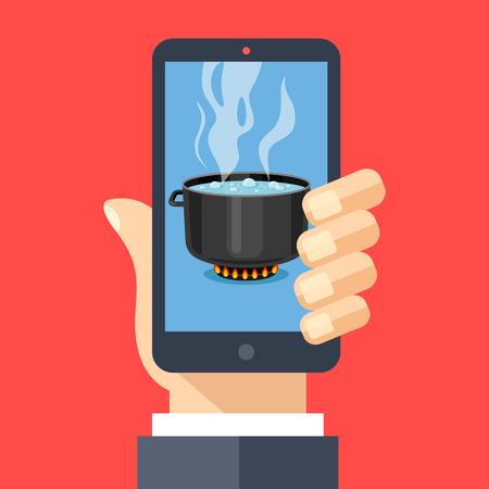 Cooking app, food blog concepts. Hand holding smartphone with hot cooking pot on stove with steam on screen. Mobile phone and boiling water in pan. Modern flat design vector illustration. Иллюстрация