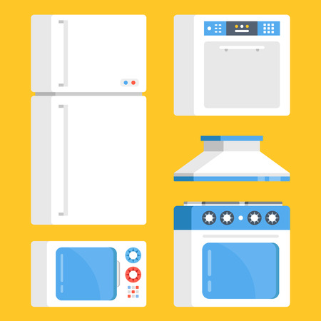 Kitchen appliances set. White refrigerator, microwave oven, electric range, exhaust hood and dishwasher. Creative concept. Modern flat design graphic elements. Vector illustration Illustration