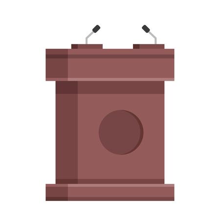 rostrum: Wooden tribune with microphones. Brown wooden rostrum, podium, stand. Creative flat design. Modern illustration