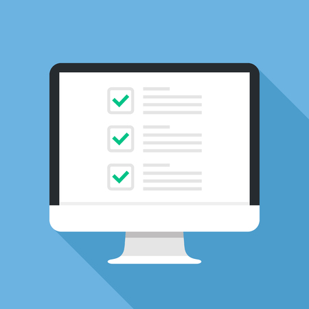Checkboxes on computer screen. Checkboxes and green checkmarks. Modern concept for web banners, web sites, infographics. Creative flat design vector illustration  イラスト・ベクター素材