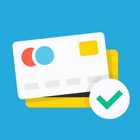 Credit card icon with green check mark. Flat design vector icon