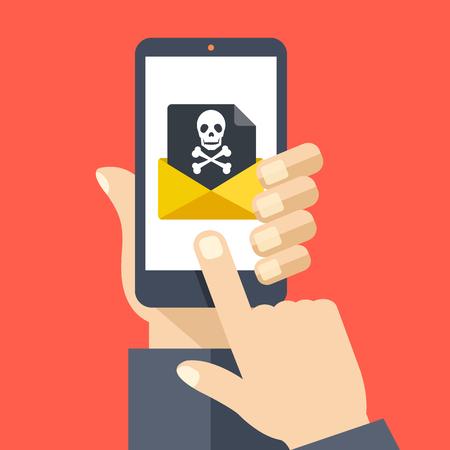 검은 문서와 두개골 아이콘이 수신 된 봉투와 함께 스마트 폰을 들고 손을. 이메일 사기, 바이러스, 악성 코드, 이메일 스팸, 피싱 (phishing) 개념. 일러스트