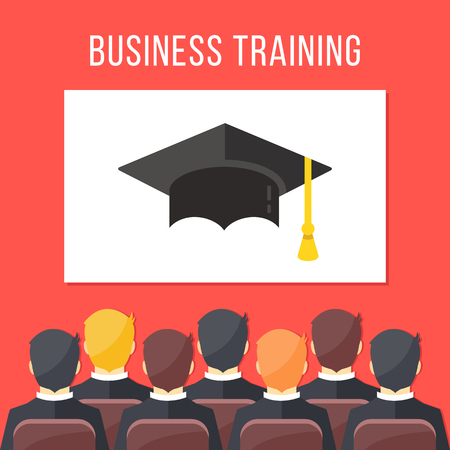 briefing: Business training. Businessmen sitting in conference hall, white board with mortarboard. Business education concept. Flat design vector illustration