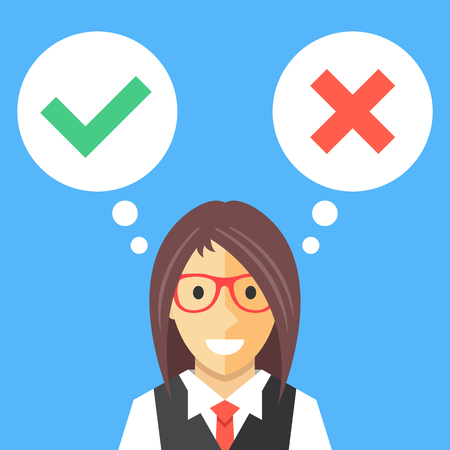 Woman and speech bubbles with check marks flat illustration. Making decisions. Modern flat design concepts. Creative vector illustration
