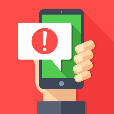 Phone notifications, new message received concepts. Hand holding smartphone with speech bubble and exclamation point icon.
