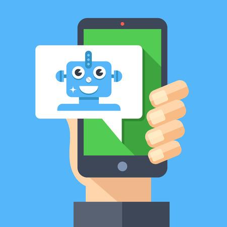 Intelligente persoonlijke assistent, virtuele assistent, chat-bot, chatbot-concept.