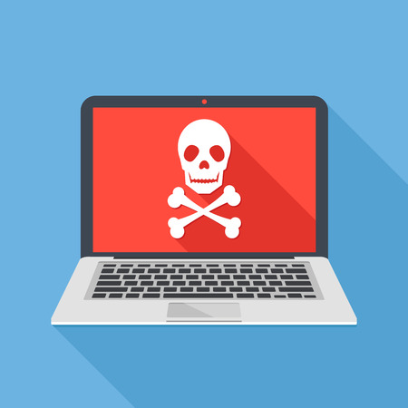 ransom: Laptop with skull and crossbones. Modern notebook and skull icon. Virus attack, ransomware, malicious software, hacker attack concepts. Illustration