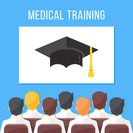 Medical training. Group of health workers sitting in conference hall, white board with mortarboard. Medical education concepts. Illustration