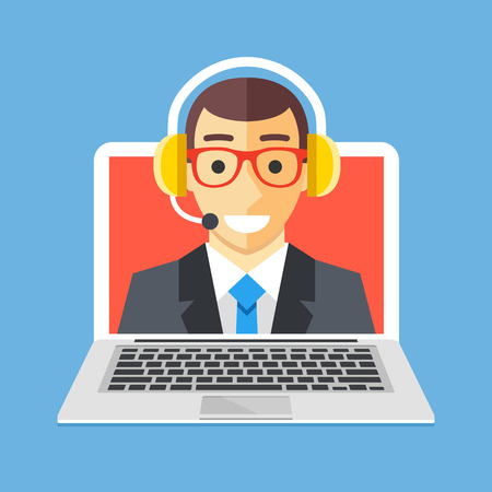 Customer service, technical support concepts. Man with headset on laptop screen. Modern flat design vector illustration Çizim