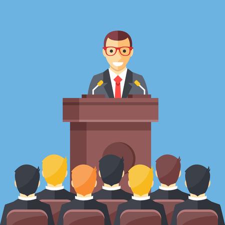 Conferencia de negocios, reunión de negocios. Hombre en la tribuna frente a la audiencia. Orador público dando una charla en la sala de conferencias. Orador en conceptos tribales. Ilustración de vector de moderno diseño plano