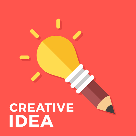 Creative idea. Glowing light bulb connected to pencil. Creativity, great solution, new idea concepts. Vector lightbulb. Modern flat design vector illustration Illustration