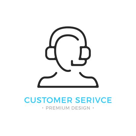 Icono de servicio al cliente Silueta humana con auriculares, hombre con auriculares y micrófono. Soporte técnico, centro de llamadas, logotipo de atención al cliente. Vector icono de línea delgada